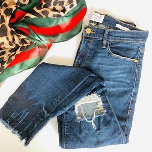 Frame Le Skinny de Jeanne Crop Raw-Edge Jeans 28